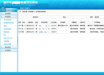 重庆市***核查对比系统